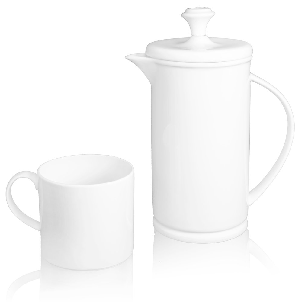 The French Press Coffee Company Porcelain & Stainless Steel Bow-handle French Press with 2 Matching Mugs - Classic Soft White High-gloss Porcelain. An Elegant Gift. by The French Press Coffee Company