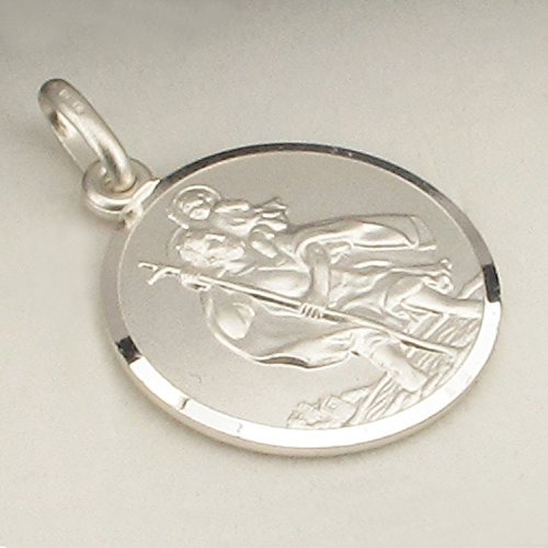 St 925 Medal Christopher In Mens Box Round Solid Reversible Sterling Gents 24mm Silver Gift Pendant 8TanvaH