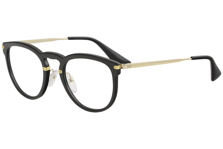 425503719efa Prada Women's Eyeglasses VPR02V VPR/02V 1AB/1O1 Black/Gold Optical Frame  51mm at Amazon Men's Clothing store: