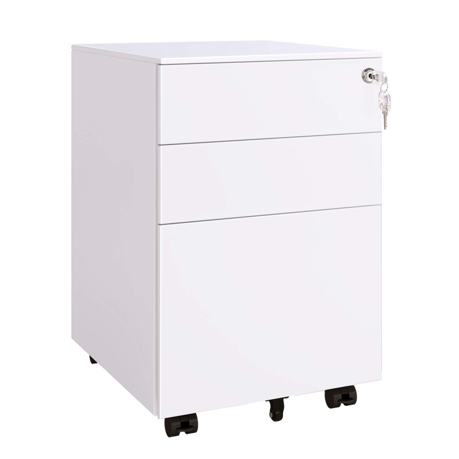 DEVAISE 3 Drawer Locking Filing Cabinet, Mobile Pedestal File Cabinet in White by DEVAISE