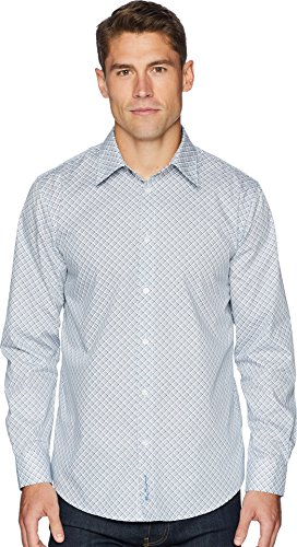 Ben Sherman Men's Long Sleeve Bias Check Print Shirt, Indigo, (Ben Sherman Check Shirt)