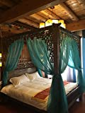 KQCNIFVNKLM Lace four corner mosquito net bed canopy,Chinese retro gauze hotel netting bedding mosquito net-F King
