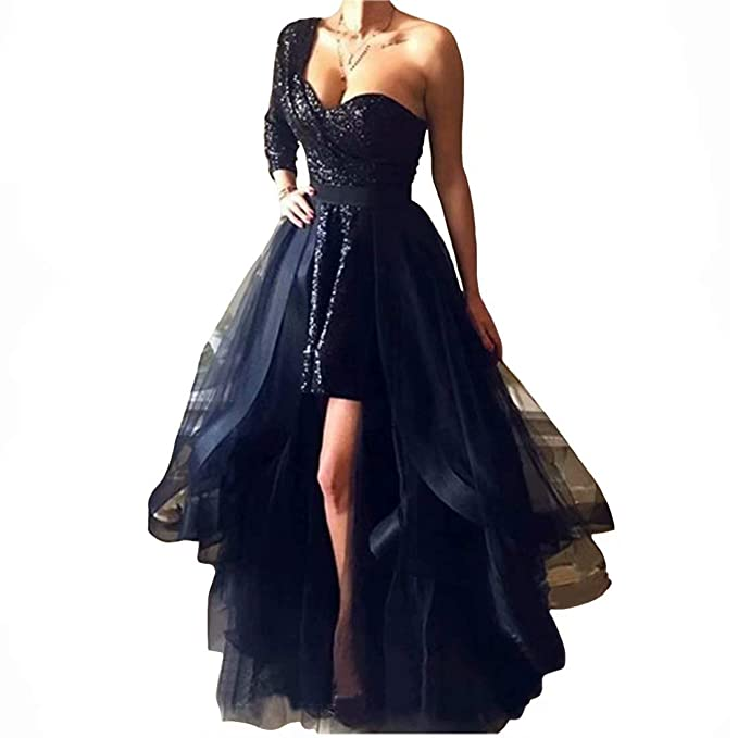 DingDingMail Black Sequined Short Prom Dresses with Detachable Skirt 2019  Long Sleeves Plus Size Evening Dresses Party Gowns