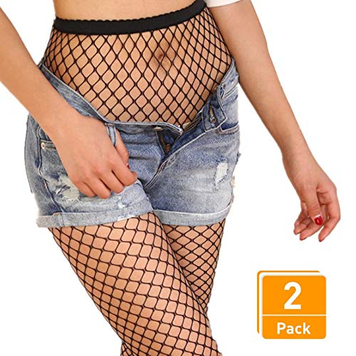 (DancMolly Fishnet Stockings Pantyhose Women's 2 Pair High Waist Hollow Mesh Tights Legging Hosiery (Black/Medium Hole,2 Pair, One Size))
