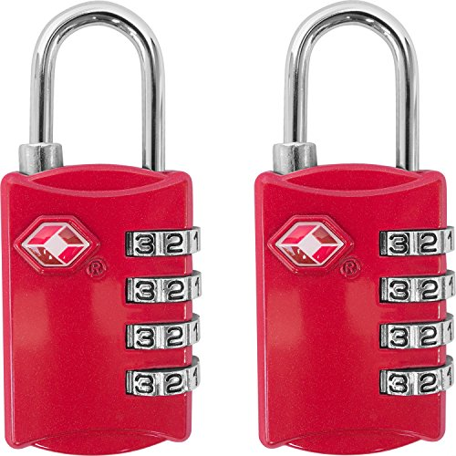 TSA Luggage Locks (2 Pack) - 4 Digit Combination Steel Padlocks - Approved Travel Lock for Suitcases & Baggage - Red