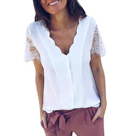... Verano Blusa de Manga Corta de Gasa Casual de Mujer Camisetas de Mujeres Camiseta Camisola Cami Tops Camisas Casual Blusas Crop Tops: Amazon.es: Ropa y ...