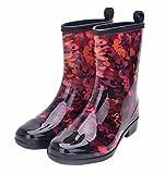 Jiu du Women's Block Heel Waterproof Rain Boots and Garden Round Toe Fashion Rain Shoes red PVC Size US7 EU38