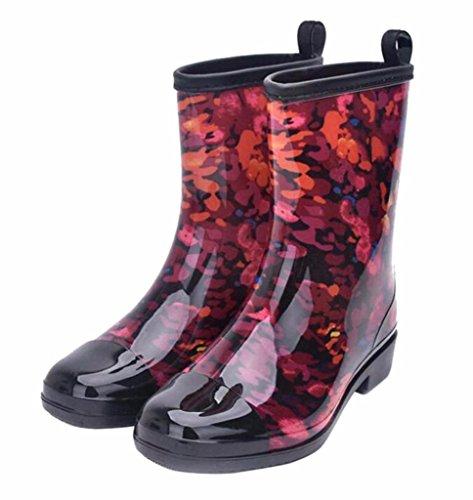 Jiu du Women's Block Heel Waterproof Rain Boots and Garden Round Toe Fashion Rain Shoes red PVC Size US7 EU38 by Jiu du