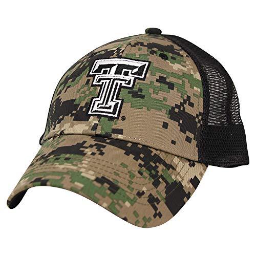 NCAA Adult Baseball Cap Adjustable Hat (Texas Tech Red Raiders (Camo Trucker))