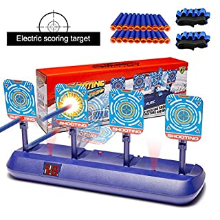 Targets for Nerf Guns, Electronic Auto Scoring Digital Reset Shooting Target for Nerf Gun Mega/Rival Series Girls Boys Ideal Gift Toy for Kids, Teens, Boys & Girls (2019 New Version)(4 Targets)