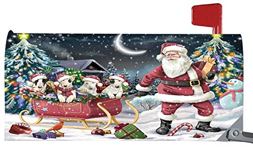 Doggie of the Day Magnetic Mailbox Cover Santa Sled Christmas Happy Holidays Bull Terriers Dog MBC48116
