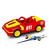 Bfun Woodcraft 3D Puzzle Assemble and Paint DIY Toy Kit, Racing car
