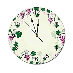 Yeeboo Nature 10 Inch Round Wall Clock,Grape Vines Framework Fruit Garden Curvy Branches Leaves Vintage Illustration Easy Read Clock for Home Office Classroom,Pink Purple Green