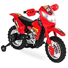 Rev up the engine and grab a helmet, it's time to race! This kid's ride on electric dirt bike has training wheels to keep little bikers safe. Children can conquer the backyard and the outdoors while burning rubber at 2 miles per hour. Our rid...