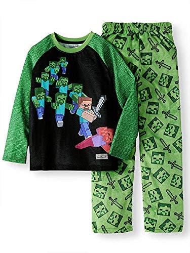 Minecraft Steve Battling Zombies Fleece 2 Piece Pajama Sleep Set, Green, Extra Small (4/5)