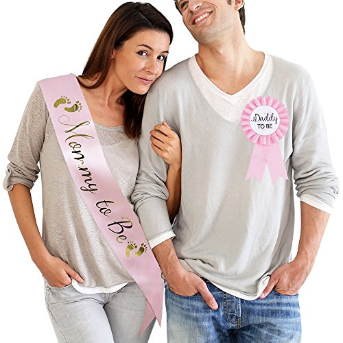 TTCOROCK Baby Shower Pink Sash Daddy to Be Tinplate Badge Pin Kit Baby Shower Party Gender Reveals Party Gifts (Pink) -