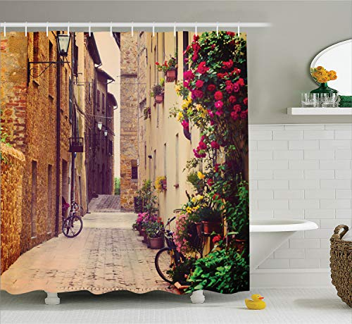 - Ambesonne Wanderlust Decor Shower Curtain Set, Street in Pienza Tuscany Italy with Hanging Basket Plants Flowers Bicycles Picture, Bathroom Accessories, 75 Inches Long, Brown Purple