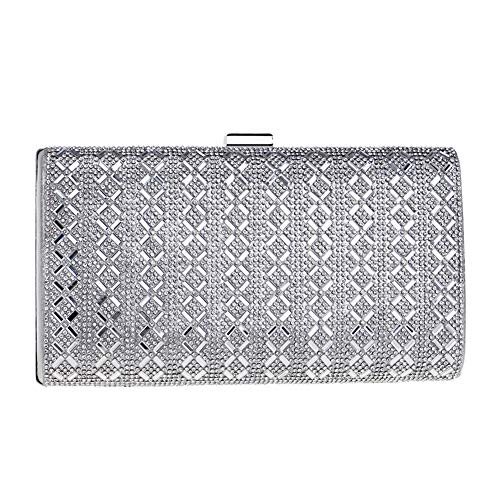 Silver Bags Evening Handbag Purse Clutch Chain Dress Wedding Bead Womens For pSTRUqvWqF