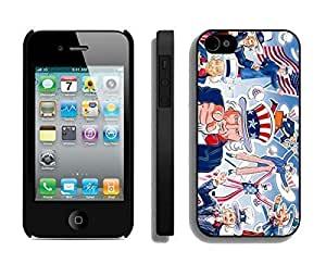 American Flag TPU Black Phone Case for Iphone 4 Silcon Soft USA Freedom For Iphone 4/4S Cover Cover
