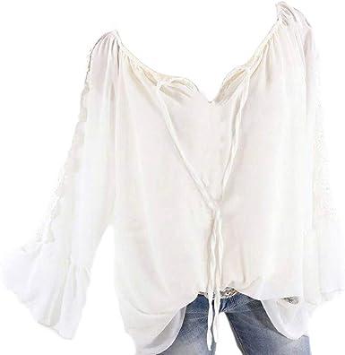 POLP Camisetas y tops Blusas de Gasa Mujer Blusas de Vestir Camisetas Manga Largas Mujer Tallas Grandes Cuello en Redondo Regalo Originales Verano Mujer 5XL Camisa de Gasa Primavera: Amazon.es: Ropa y