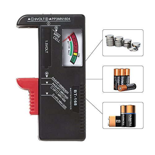 RED SHIELD Universal Battery Tester, Accurate and Portable Battery Checker for AA AAA C D 9V 1.5V and Button Cell Batteries ()