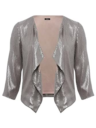 ca1c760e35d Sequin drape front jacket Silver 20  Amazon.co.uk  Clothing