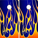 C02 Fire Flames Cornhole LAMINATED Decal Set Decals Board Boards Vinyl Sticker Bean Bag Wrap Wraps Vinyl Graphic Decal Tint Image