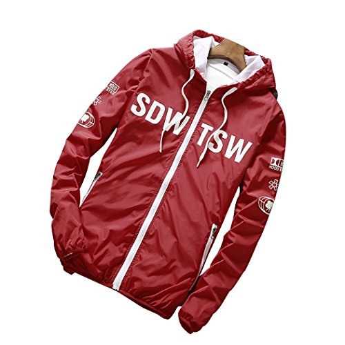 Real Spark(TM) Men Casual Bomber Softshell Track Hooded Lightweight Jacket Red - Coach Outlet Buy Online