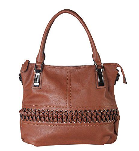 Accented Large Hobo Handbag - Diophy PU Leather Laced-Front Tote Womens Purse Handbag Accented with Removable Strap CZ-1600 Brown