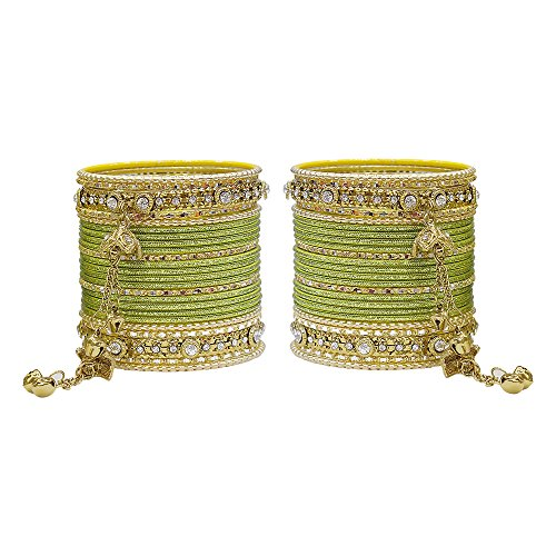 MUCH-MORE Gorgeous Collection Fashion Made of Latkan Bangles for Women & Girls (Military, -