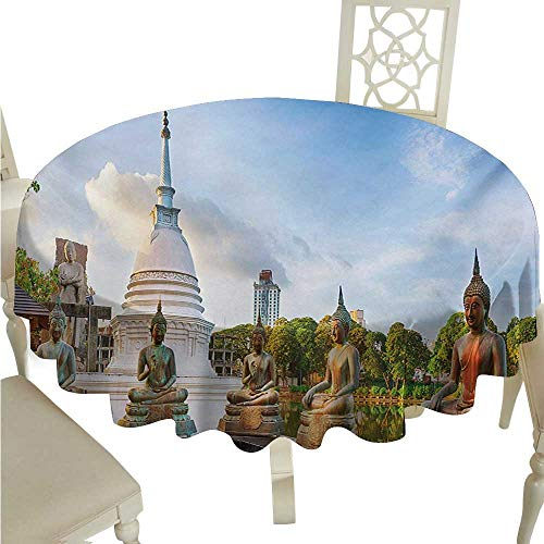 Colombo Zip - Asian Fabric Dust-Proof Table Cover Seema Malaka Temple on Beira Lake Colombo Sri Lanka Panorama Cloudscape Runners,Gatsby Wedding,Glam Wedding Decor,Vintage Weddings D70 Pale Blue Green White