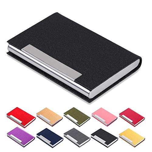 Business Card Holder Luxury Leather-Stainless - Name Card Holder Luxury PU Leather & Stainless Steel Multi Card Case Wallet Credit Card ID Case/Holder for Men & Women (Black-01) -