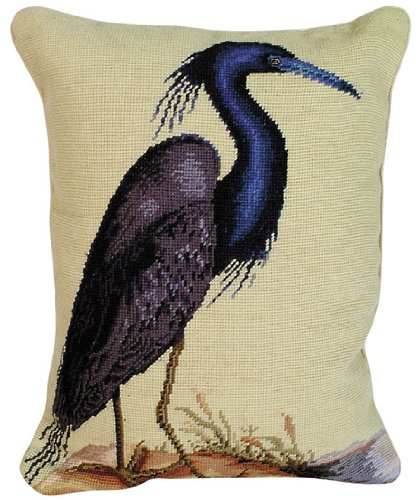 Blue Needlepoint (Deluxe Pillows Blue Heron 20 x 16 inches needlepoint pillow)