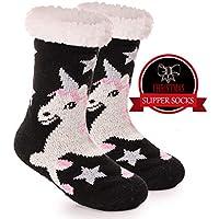 Girls Boys Slipper Socks Fuzzy Thick Warm Soft Heavy Fleece lined Winter Socks Christmas Stockings For Child Kid Toddler