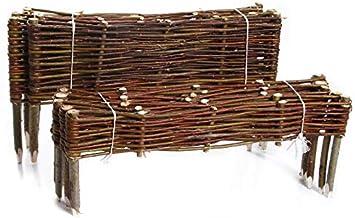 10x60cm, 1 St/ück rg-vertrieb Weidenzaun Beeteinfassung M/ähkante Beetumrandung aus Weide Steckzaun Rasenkante Beetbegrenzung mit Pfl/öcken Palisade