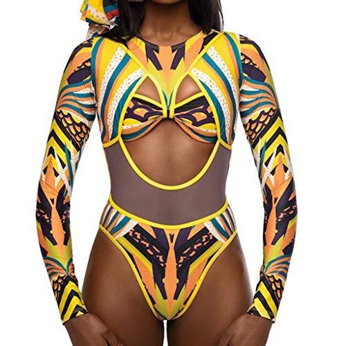 Alangbudu Women's African Tribal Metallic Print Cut Out Long Sleeve Bikini Sets High Waist Monokini Swimsuit -