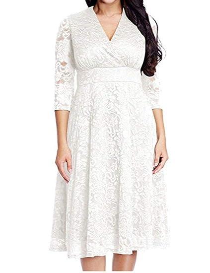 TeapO Women\'s Lace Plus Size V Neck Bride Skater Dress Evening Gown ...