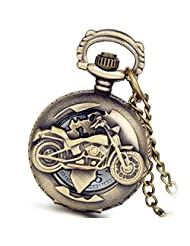 Lancardo Cool Vintage Hollow Out Skeleton Motocycle Pocket Fob Watch With Chain