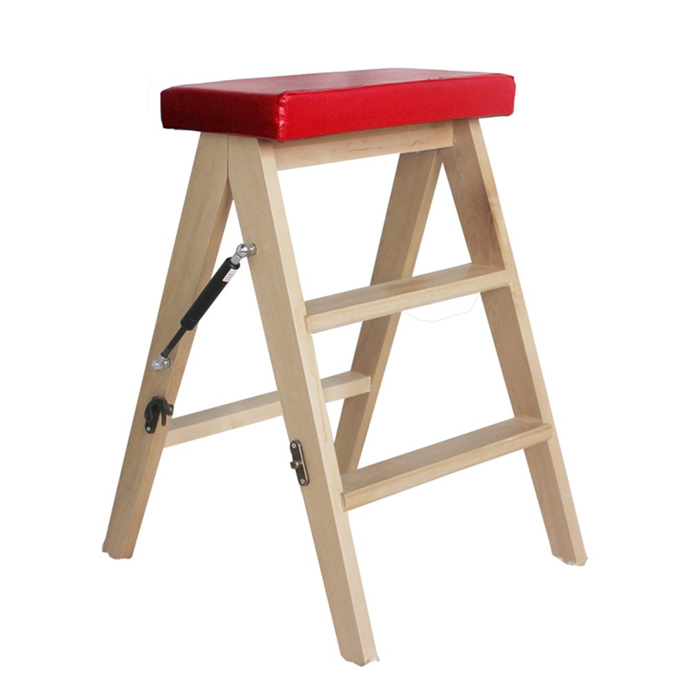 Solid wood folding stool / simple modern folding staircase / home kitchen stool / portable stool ( Color : Red )