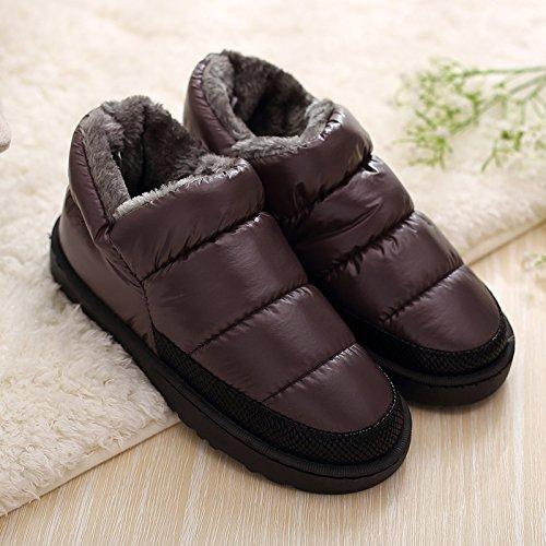 Inverno fankou piume Impermeabili di cotone pantofole di uomini e donne home giovane indoor antiscivolo fondo spesso scarpe caldo autunno e inverno, 41 (codice standard), grigio