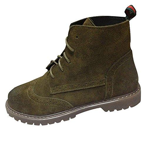 Ladies Fereshte Boots Boots Dark Green Lined Leather Suede Ankle Flats Fleece Martin Women's High Combat rrfTvxd