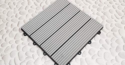 Klick WPC Fliesen grau f/ür Balkon oder Terrasse in brillanter Holz Optik 30x30 cm 10 St/ück // 0,9 m/² Set