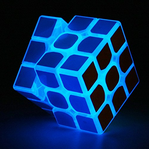 (TANCH Glow in the Dark speed Cube 3x3x3 Magic Cube Puzzle Toy Half transparent)