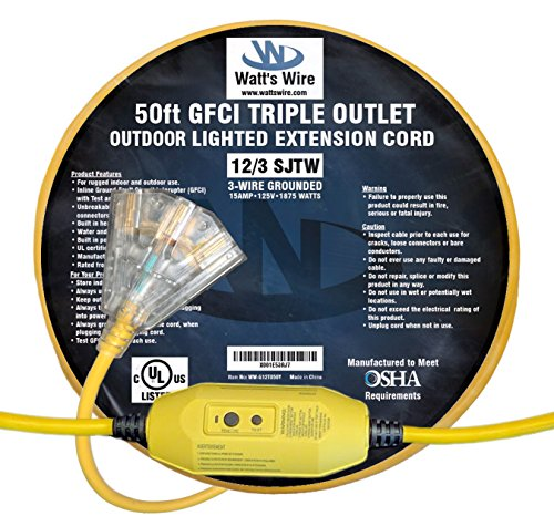 50-ft GFCI 12/3 Heavy Duty 3-Outlet SJTW Indoor/Outdoor UL Listed Extension Cord by Watt's Wire - Yellow 50' 12-Gauge Grounded 15-Amp Three-Prong GFI Power-Cord (50 foot 12-Awg GFCI)