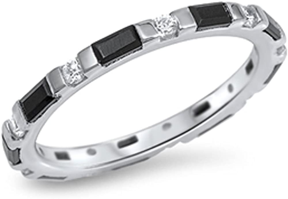 Double Accent Sterling Silver Black & White CZ Baguette Eternity Band 3MM (Size 3 to 13)