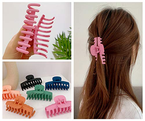 6pcs Big Hair Claw Clips, GetALift Nonslip Matte Claw Clips for Women/Girls Strong Hold Thick Long Curly Hair with Fashion Accessories Hair Comb (6 colors/pack)