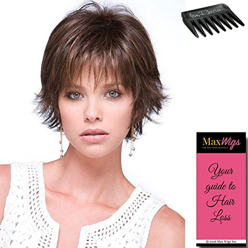 Coco Wig Color Coffee Latte Rooted - Rene of Paris Wigs Short Wispy Texture face Framing Synthetic Tousled Layers Bundle w/Comb, MaxWigs Hairloss Booklet