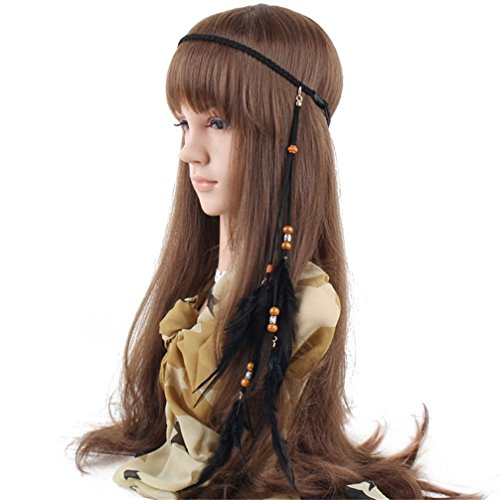 FIYA Feather Hair Band Bohemian Headband Braided Headdress Beads Headpiece Women Girls Hair Accessories (Feathered Headdress)