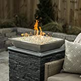 Alpine Flame Westfalen 24-inch Square Low-rise Natural Gas Column Fire Bowl - Stainless Steel