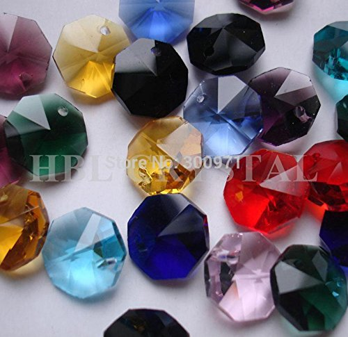 Kamas tools - 100pcs/lot, 15colors mixed 14mm crystal glass octagon beads in one hole, glass crystal octagon beads one hole. ()